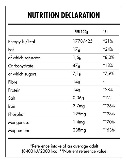 Tabela Nutricional - Super Vegan Oat Mix
