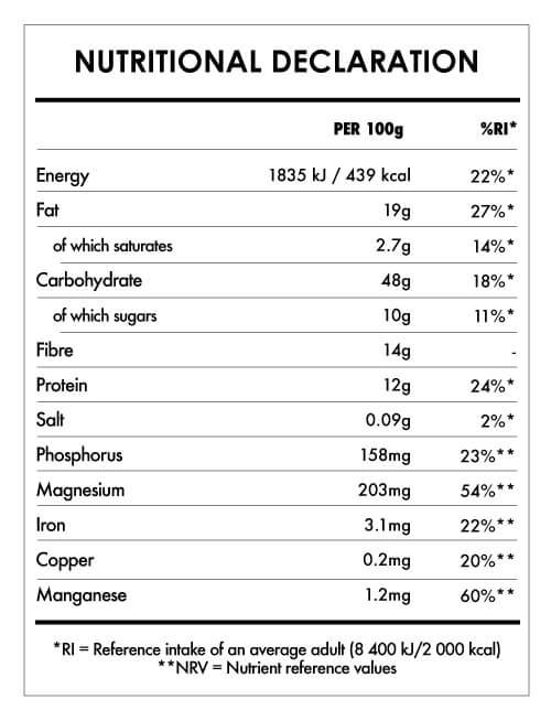 Tabela Nutricional - Gluten-Free Oats Hazelnut Butter & Cacao
