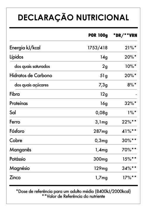 Tabela Nutricional - Aveia Divina Amendoim e Framboesa
