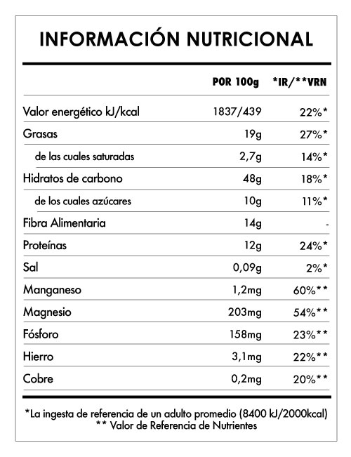 Tabela Nutricional - Avena Divina Avellana y Cacao 3Kg