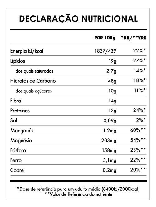 Tabela Nutricional - Aveia Divina Avelã e Cacau