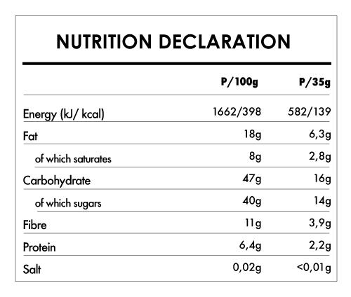Tabela Nutricional - Buddha Energy Bar Carob and Hazelnut (15x35g)