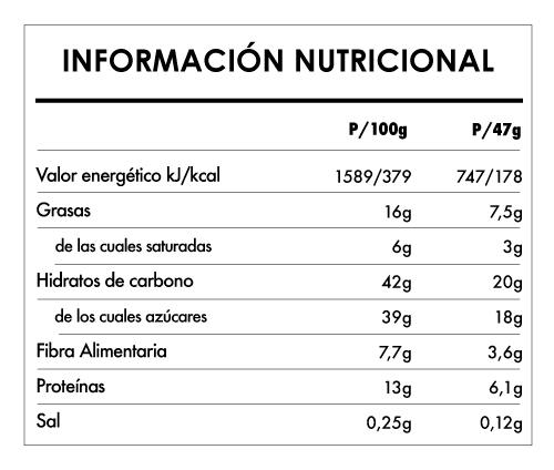 Tabela Nutricional - Buddha Protein Bar Cacao Almendra Tostada (15x47g)