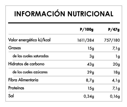 Tabela Nutricional - Buddha Protein Bar Chía Limón y Spirulina (15x47g)