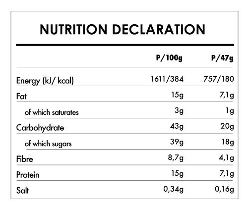 Tabela Nutricional - Buddha Protein Bar Chia Lemon and Spirulina (15x47g)