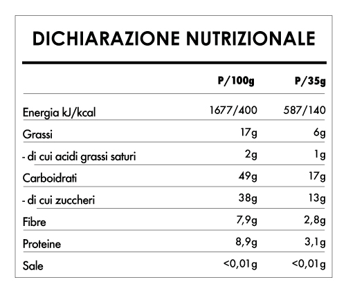 Tabela Nutricional - Buddha Energy Bar Maca Vaniglia (15x35g)