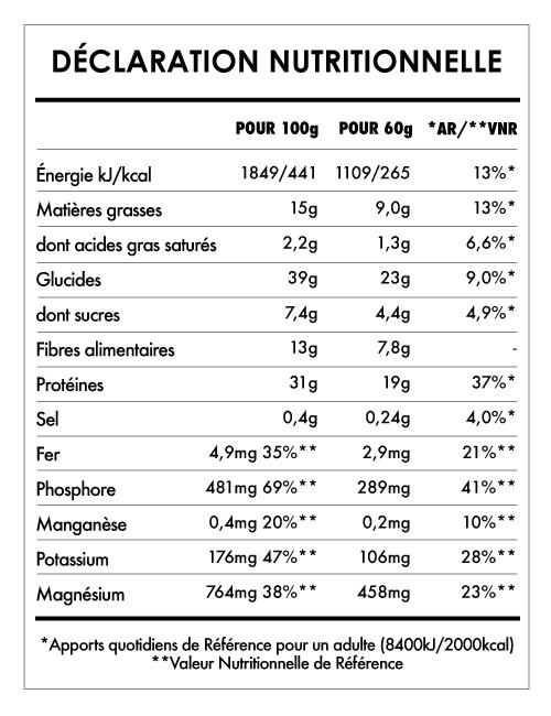 Tabela Nutricional - Éveil du Bouddha Cacahuètes et Banane