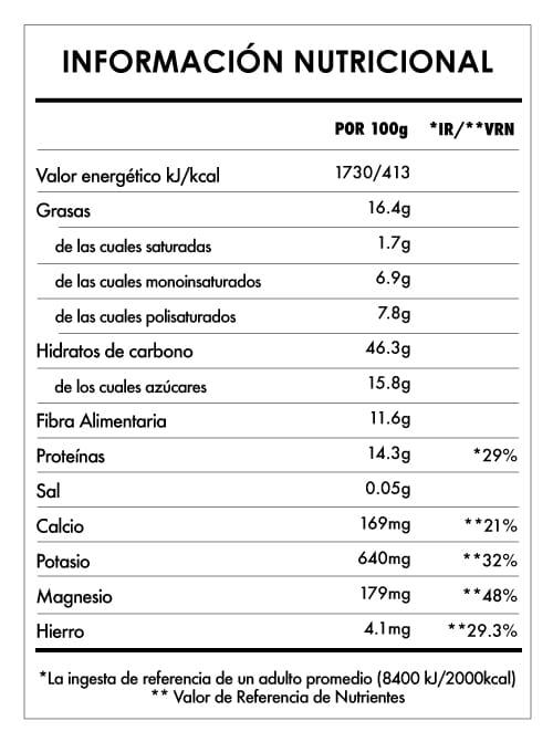 Tabela Nutricional - Despertar de Buda Maca & Vainilla