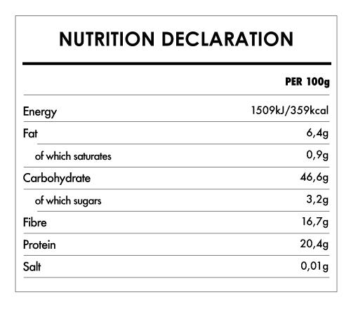 Tabela Nutricional - Organic Protein Chickpea Fusilli - Naturefoods (250g)