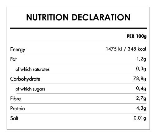 Tabela Nutricional - Flour Blend for Gluten Free Organic Bread - Bauck Hof (800g)
