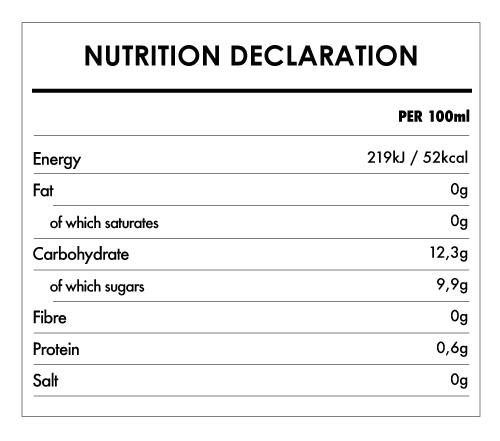 Tabela Nutricional - Organic Pineapple Juice - Naturefoods (750ml)