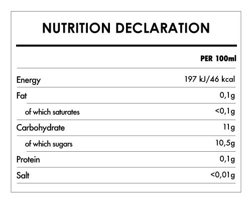 Tabela Nutricional - Organic Apple Juice - Hollinger (1L)