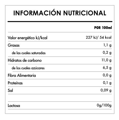 Tabela Nutricional - Bebida Bio de Arroz Original - Provamel (1L)