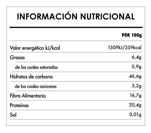 Tabela Nutricional - Fusilli Proteico de garbanzos bio - Naturefoods (250g)