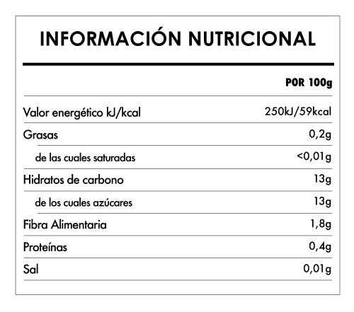 Tabela Nutricional - Pulpa de Manzana Biológica - Naturefoods (100g)