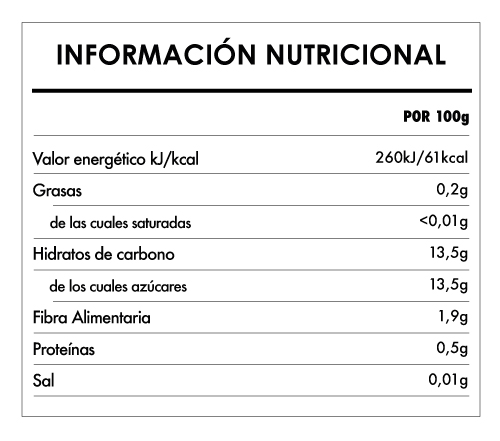 Tabela Nutricional - Pulpa de manzana y pera biológica - Naturefoods (100g)