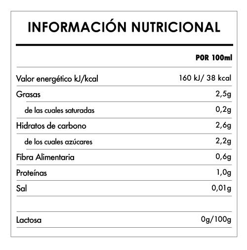 Tabela Nutricional - Bebida Bio de Almendra - Provamel (1L)