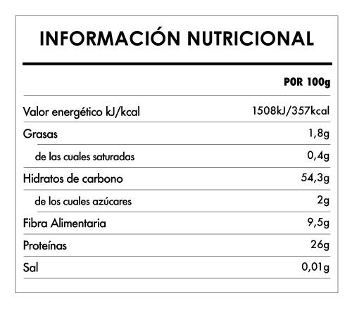 Tabela Nutricional - Fusilli Proteico de Lentejas rojas Bio - Naturefoods (250g)