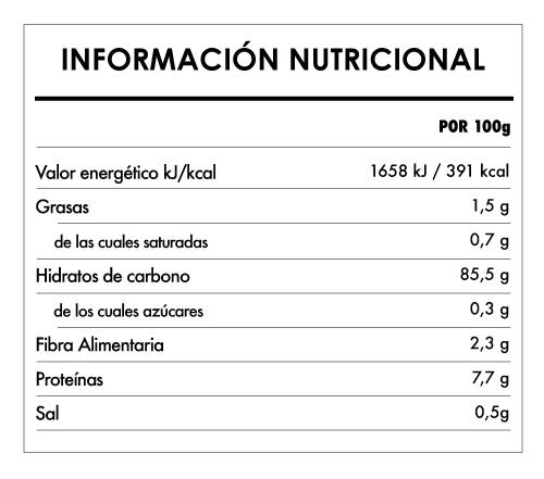Tabela Nutricional - Tortitas de Maíz Bio - Naturefoods (120g)