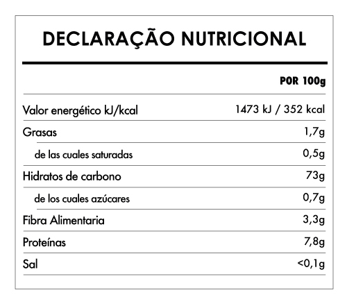 Tabela Nutricional - Pasta Noodles Integral Bio sin gluten - Clearspring (200g)