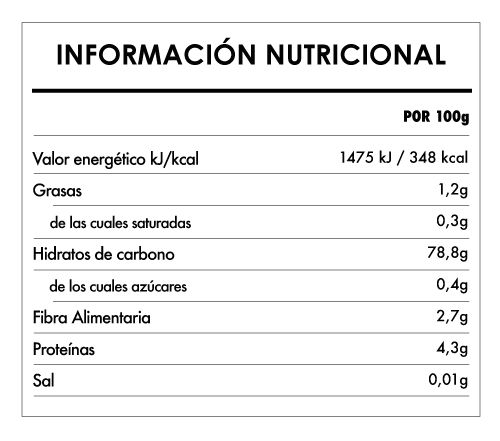 Tabela Nutricional - Mezcla de harinas para pan bio sin gluten Bauck Hof (800g)