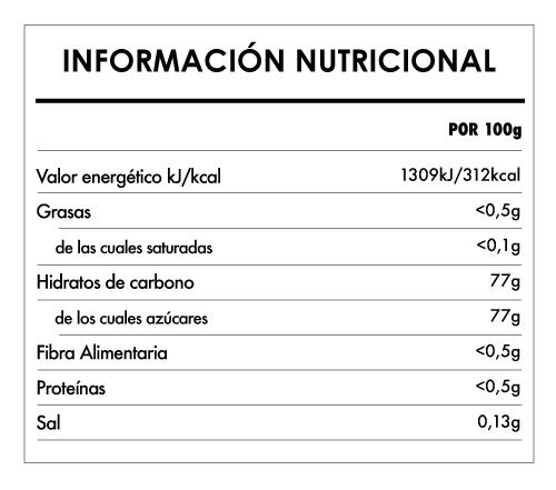 Tabela Nutricional - Sirope de Flor de Coco Biológico - Naturefoods (500g)