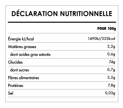 Tabela Nutricional - Farine de riz complet biologique sans gluten - Bauck Hof (500g)