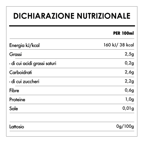Tabela Nutricional - Bevanda de Mandorle - Provamel (1L)