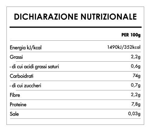 Tabela Nutricional - Farina di Riso Biologico Integrale Senza Glutine (500g) - Bauck Hof