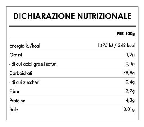 Tabela Nutricional - Miscela di Farine per Pane Biologica e Senza Glutine (800g) - Bauck Hof