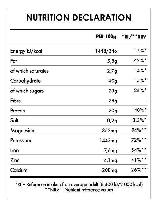 Tabela Nutricional - Macaccino Original - Reishi Bio