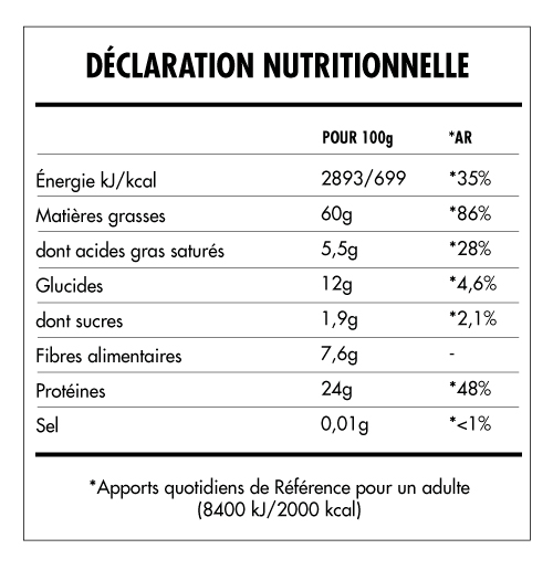 Tabela Nutricional - Super Vegan Beurre de Noix