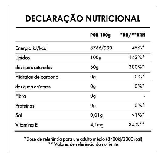 Tabela Nutricional - Manteiga de Cacau Bio