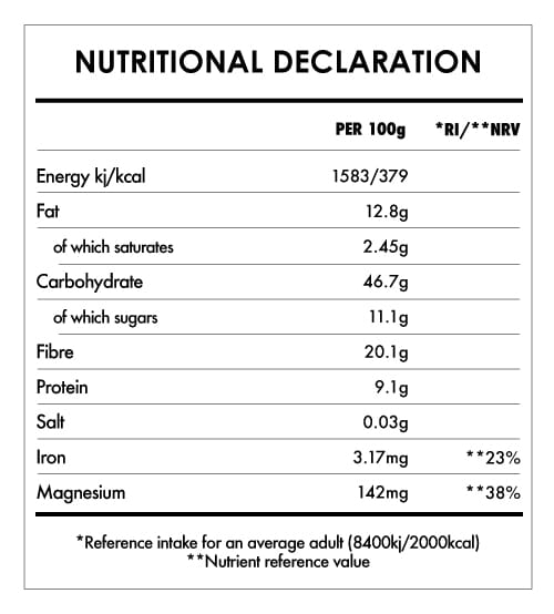 Tabela Nutricional - Little Buddha Carob Breakfast