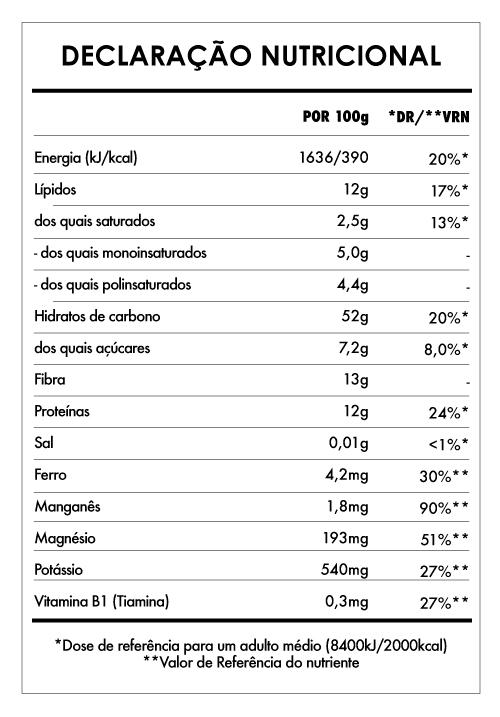 Tabela Nutricional - Pequeno Buda de Cacau e Alfarroba