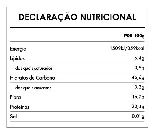 Tabela Nutricional - Fusilli Proteico Grão-De-Bico Bio - Naturefoods (250g)