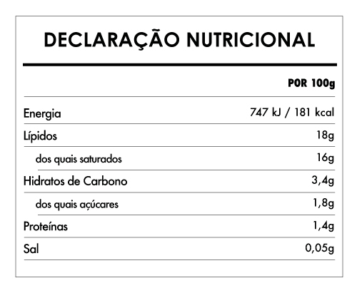 Tabela Nutricional - Leite de Coco Bio - Clearspring (400ml)