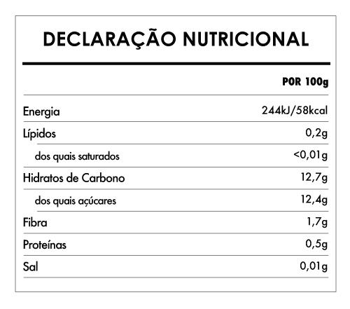 Tabela Nutricional - Polpa De Maçã E Mirtilo Biológica - Naturefoods (100g)