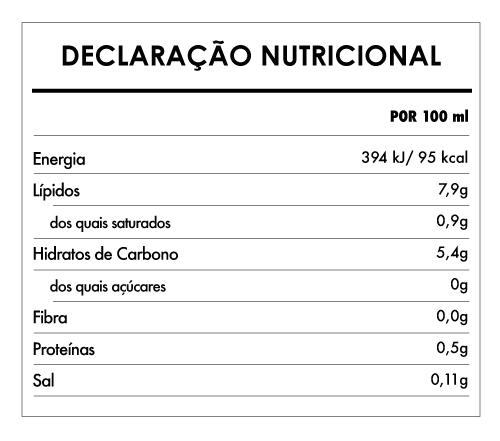 Tabela Nutricional - Creme De Cozinha De Arroz Bio 100% Vegetal - Provamel (250ml)