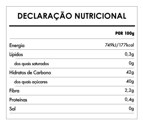 Tabela Nutricional - Doce Extra Mirtilo Bio - Naturefoods (260g)