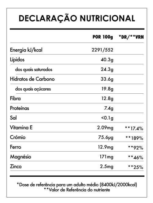 Tabela Nutricional - Chocolate Laranja e Quinoa (61% cacau) - 75g