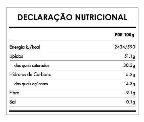 Tabela Nutricional - Chocolate Salty Spirulina (80% cacau) - 75g