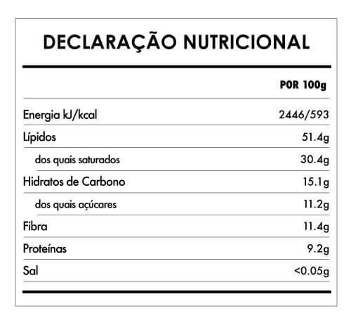 Tabela Nutricional - Chocolate Morango e Cardamomo (80% cacau) - 75g