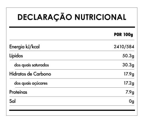 Tabela Nutricional - Cioccolato Vaniglia e Cocco