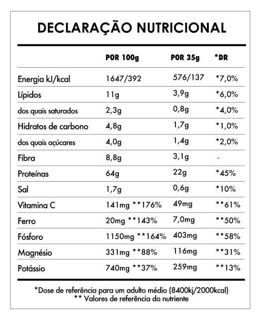Tabela Nutricional - Super Vegan Protein de 2,5kg