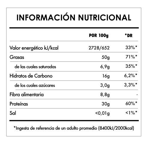 Tabela Nutricional - Crema de Cacahuete Crujiente Bio