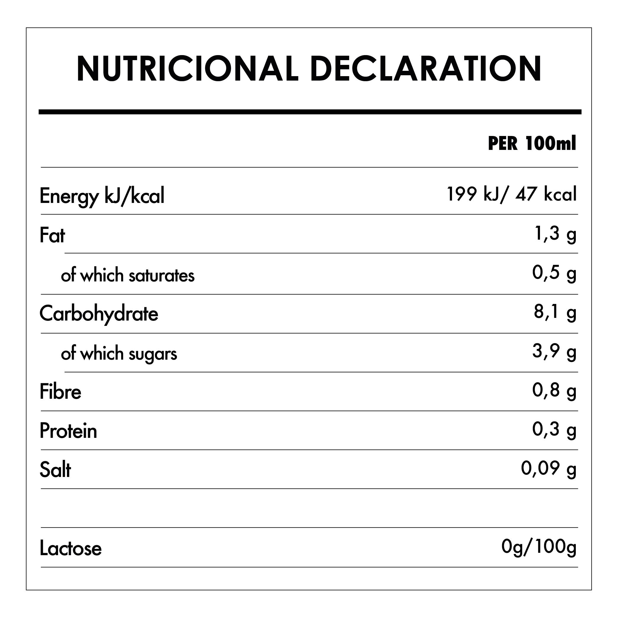 Tabela Nutricional - Organic Oat Drink - Provamel (1L)