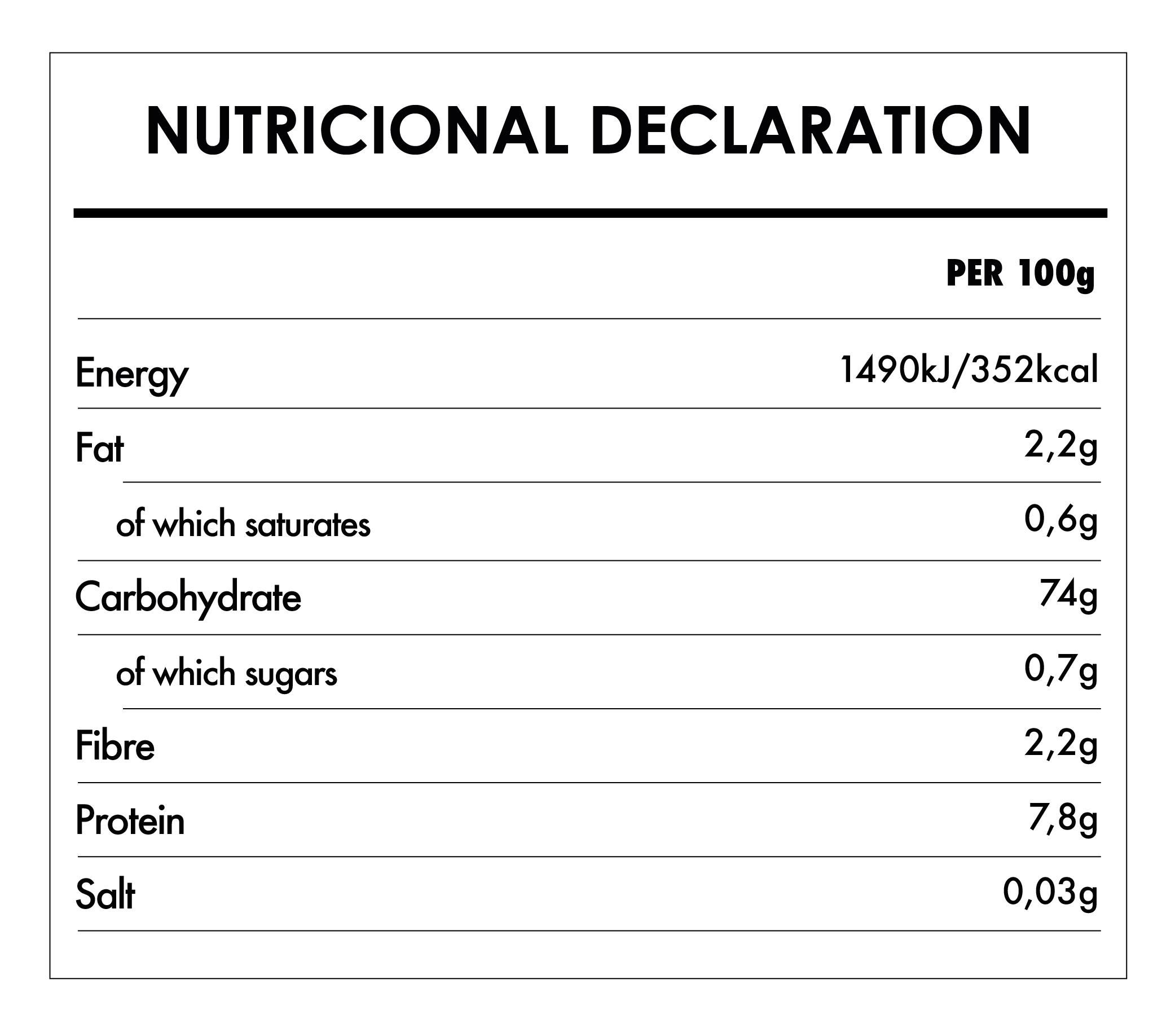 Tabela Nutricional - Organic Gluten Free Whole Grain Rice Flour - Bauck Hof (500g) | Iswari ©