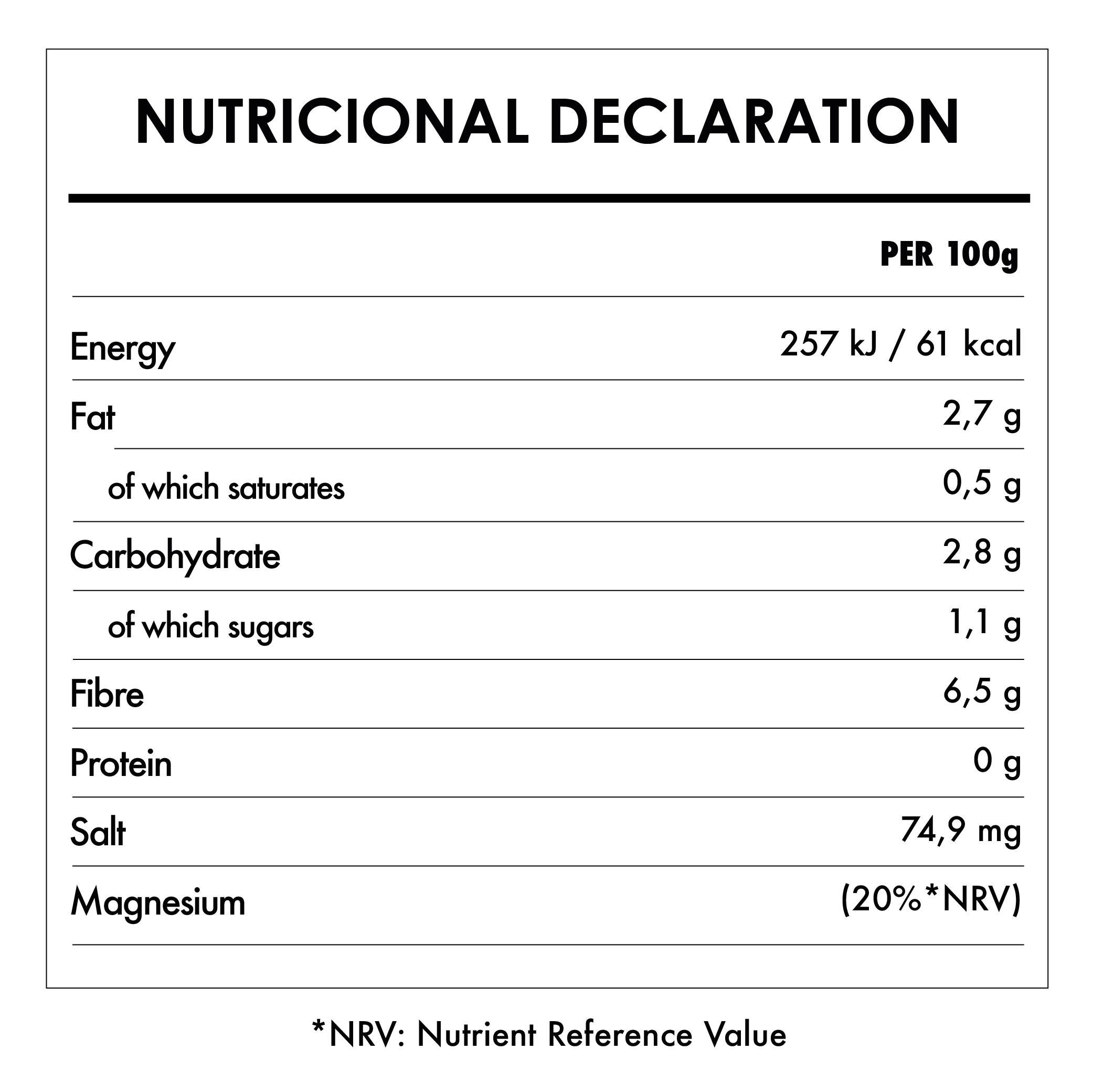 Tabela Nutricional - Organic Tofu Silken and Smooth - Clearspring (300g)