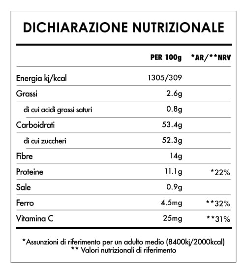 Tabela Nutricional - Bacche Di Goji Bio